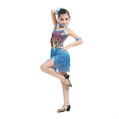 Latein-Tanz Kleider Kinder Leistung Polyester Elasthan Paillette Quaste Ärmellos Hoch Kleid Armbänder Neckwear Kopfbedeckung