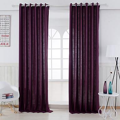 zwei Panele Modern Solide Purpur Schlafzimmer Leinen-Polyestergewebe Flächenvorhänge Vorhänge