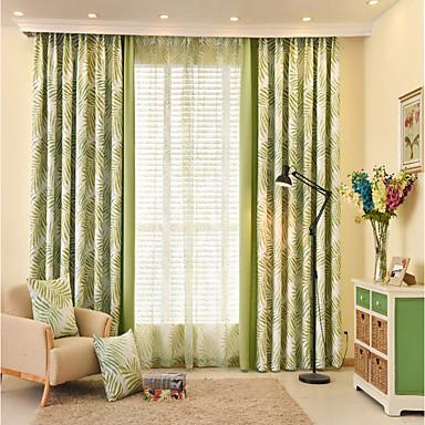 Ösen Zweifach gefaltet plissiert zwei Panele Window Treatment Designer Europäisch Rokoko Landhaus Stil, Druck Patchwork Natur & Landschaft