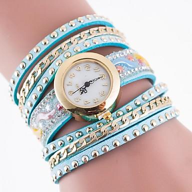 לנשים שעוני אופנה קווארץ שעונים יום יומיים בד להקה צבעוני ורד אדום כחול ורוד ירוק בהיר