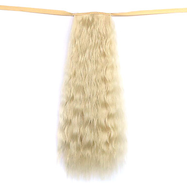 A Clipser Ondulé Queue-de-cheval Attaché Pièce de cheveux Extension des cheveux 20 pouces Blond Platine