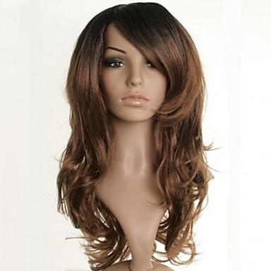Synthetische Haare Perücken Wellen Kappenlos Medium Braun