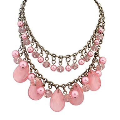 Damen Tropfen Niedlich Party Freizeit Volkston Doppelschicht Europäisch Anhängerketten Perlenkette Perle Künstliche Perle Harz Aleación