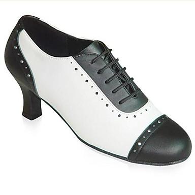 Damen Modern Swing Schuhe Kunststoff Absätze Professionell Innen Kristall Blockabsatz Schwarz und Weiss Maßfertigung