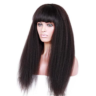 שיער אנושי תחרה מלאה חזית תחרה פאה ישר Kinky Straight 130% 150% 180% צְפִיפוּת 100% קשירה ידנית פאה אפרו-אמריקאית שיער טבעי קצר בינוני