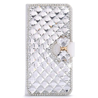 Full Body Rhinestone / with Stand / Flip Solid Color PU Leather Hard Case Cover For HuaweiHuawei P8 / Huawei P8 Lite / Huawei P7 / Huawei