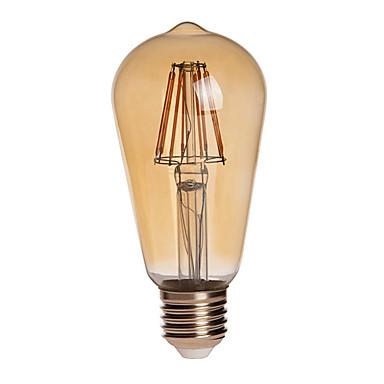 750lm E26 / E27 LED-globepærer ST64 8 LED perler COB Mulighet for demping Vanntett Dekorativ Varm hvit 110-130V