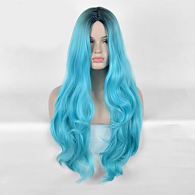 Szintetikus parókák Hullámos Kék Női Sapka nélküli Carnival Paróka Halloween paróka Hosszú Szintetikus haj