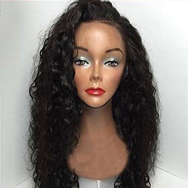 Echthaar Vollspitze Spitzenfront Perücke Locken 130% Dichte 100 % von Hand geknüpft Afro-amerikanische Perücke Natürlicher Haaransatz