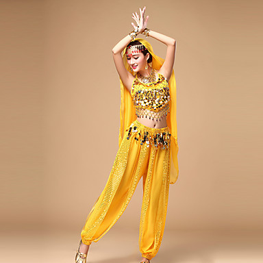Sollen wir Bauch Tanz Frauen Top / Hose mit Ohrringe Tanz Kostüme