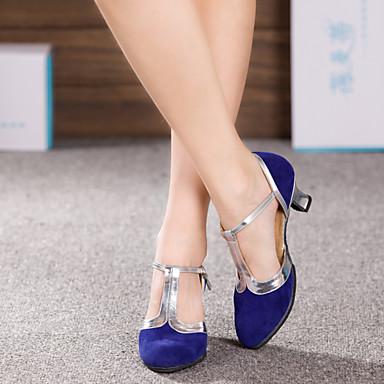baratos Shall We® Sapatos de Dança-Mulheres Sapatos de Dança Glitter / Sintético / Veludo Sapatos de Dança Latina Lantejoulas / Apliques / Gliter com Brilho Sandália / Salto Salto Cubano Não Personalizável Amêndoa / Prateado / Azul