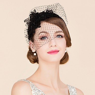 Tulle Rhinestone Polyester Fascinators Birdcage Veils Headpiece