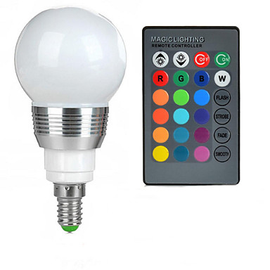 100-200 lm E14 LED-globepærer A50 1 LED Perler Højeffekts-LED Fjernstyret RGB 85-265 V / 1 stk.