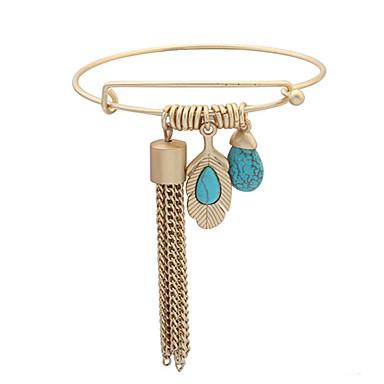נשים צמידי צ'ארם צמידים שרף טורקיז סגסוגת גדילים אופנתי אבני מזלות מוזהב תכשיטים 1pc