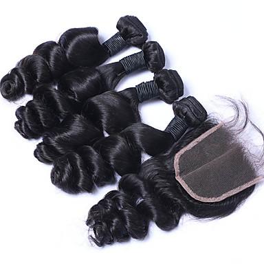 Haar-Einschlagfaden mit Verschluss Peruanisches Haar Lose gewellt 6 Monate 4 Stück Haar webt
