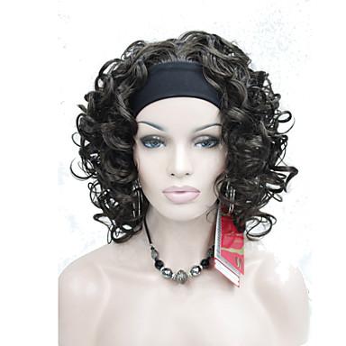 Perruque Synthétique Marron Femme Sans bonnet Perruque de carnaval Perruque Halloween Cheveux Synthétiques