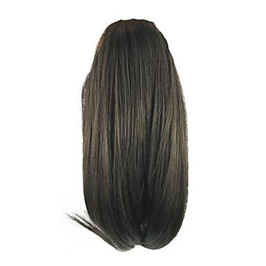 voordelige Haar Stukken-Klem In / Op Paardenstaart Afro Ponytail / Antislip grijper Echt haar Haar stuk Haarextensies Recht / Natuur Zwart
