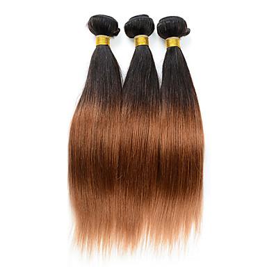 Gerçek Saç İri Dalgalı Peru Saçı Ombre Düz Saç uzatma 3 Parça Siyah / Orta Auburn