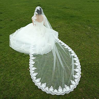 הינומות חתונה שכבה אחת צעיפי אצבע צעיפי קתדרלה אפליקצית קצה תחרה טול לבן