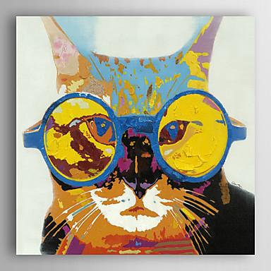håndmalte oljemaleri dyr kjæledyr med briller med strukket ramme 7 veggen arts®