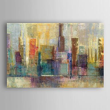 handgemaltes Ölgemälde Landschaft abstrakt Blick auf die Stadt mit gestreckten Rahmen 7 Wand ARTS®