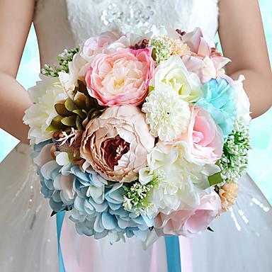 Fleurs de mariage Rond Roses Lis Pivoines Bouquets Mariage La Fête / soirée Polyester Satin Organza Fleur séchée Strass Env.25cm