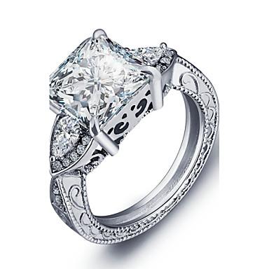 בגדי ריקוד נשים טבעת הטבעת כסף יהלום כסף סטרלינג כסוף ריבוע וינטאג' מסיבה אופנתי חתונה Party קזו'אל תכשיטי תלבושות
