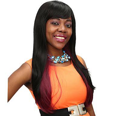 hitzebeständig billig gefälschte Haarperücke 28inch lang schwarz mit roten synthetische Perücken für Frauen