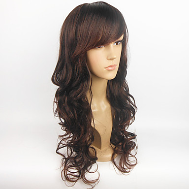 Synthetische Haare Perücken Wellen Lang Schwarz