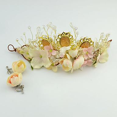 Femme Cristal Imitation de perle Tissu Casque-Mariage Occasion spéciale Décontracté Extérieur Tiare 2 Pièces