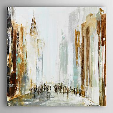 kézzel festett olajfestmény absztrakt ember sétál a városban, feszített keret 7 fal arts®