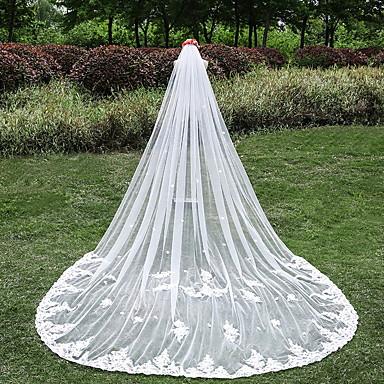 Egykapcsos Csipke szegély Menyasszonyi fátyol Katedrális fátylak A Rátét Csipke Tüll