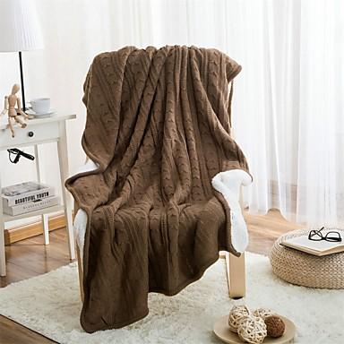 Strick Wie im Bild,Garnfärbung Einfarbig 100% Baumwolle Decken 120*180cm(47