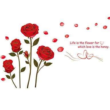 טבע דומם רומנטיקה אופנה פרחים בוטני סרט מצויר Leisure מדבקות קיר מדבקות קיר מטוס מדבקות קיר דקורטיביות מדבקות חתונה, PVC קישוט הבית