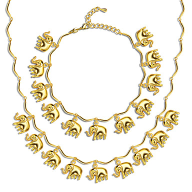 Schmuckset Halskette / Armband Retro Niedlich Party Büro Freizeit Glied/Kette Modisch Hochzeit Party Alltag Normal vergoldet Elefant Tier