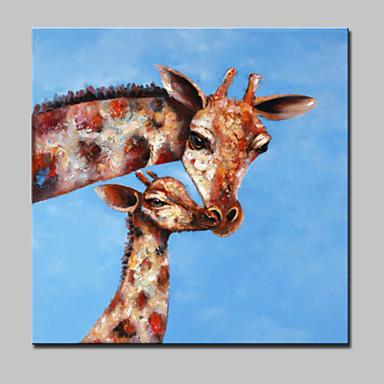 grande pintura a óleo abstrato moderno da lona linda girafa mão animais pintados com moldura esticada pronto para pendurar