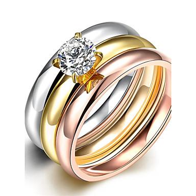 Kubisk Zirkonium Band Ring / Statement Ring / Ring - Zirkonium, Kubisk Zirkonium, Sølvplett Luksus, dusk, Bohemsk 6 / 7 / 8 Utvalgte Farger Til Bryllup / Fest / Daglig / Gullbelagt / 3pcs