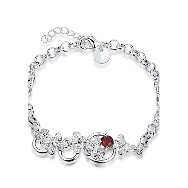 Damen Ketten- & Glieder-Armbänder Luxus-Schmuck Zirkon versilbert Tierform Schmetterling Silber Schmuck Für Hochzeit Party Alltag Normal1