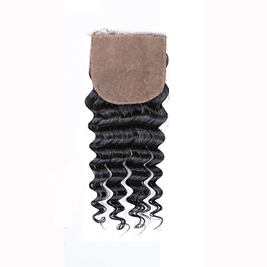8 12 14 16 18 20inch Prirodno crna (#1B) Vezana rukom Duboko Val Ljudske kose Zatvaranje srednje smeđa Švicarska mrežica 45 gram Prosječan