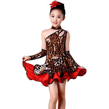 ריקוד לטיני שמלות בגדי ריקוד ילדים ביצועים ספנדקס פוליאסטר Leopard 4 חלקים בלי שרוולים גבוה שמלה כפפות Neckwear