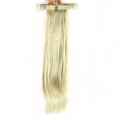 20 Zoll Blondine Mit Clip Gerade Pferdeschwanz Elasthan Umwickeln Kunststoff Haarstück Haar-Verlängerung