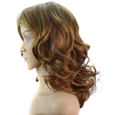 Cheveux Synthétiques Perruques Ondulation naturelle Sans bonnet Marron