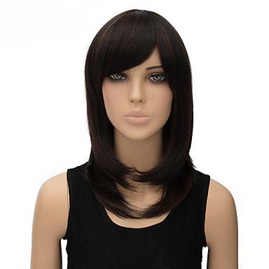 נשים פאות סינתטיות ללא מכסה בינוני ישר שחור פאות תלבושות