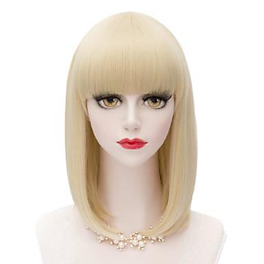 Kvinder Syntetiske parykker Lokkløs Medium Rett Blond costume Parykker