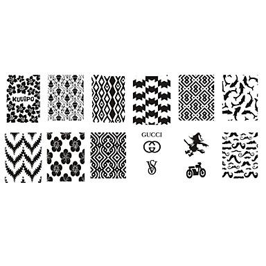 1 pcs Stempling plade Skabelon Moderigtigt Design Negle kunst Manicure Pedicure Stilfuld / Mode Daglig / Plast / Stempling Plate