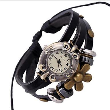Damen Modeuhr Armband-Uhr digital Leder Band Böhmische Schwarz Schwarz
