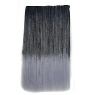 26-Zoll-Clip in der synthetischen schwarz graue Farbe gerade Haarverlängerungen mit 5 Clips