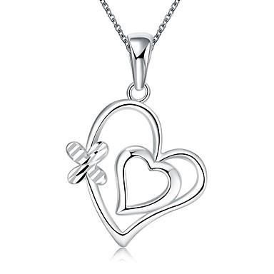 Damen Schleifenform Personalisiert Liebe Modisch Europäisch Halsketten Anhängerketten Statement Ketten Sterling Silber Halsketten