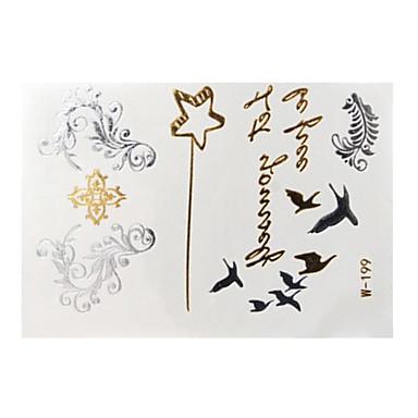 1Airbrush Tattoo Stencils-8*11*0.3-Papír-Arany-Női / Felnőtt