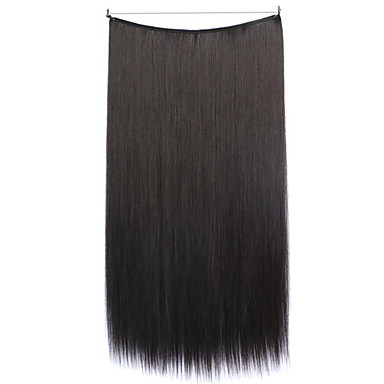 Flip In Extensiones de cabello humano Recto Clásico Extensiones Naturales Pelo sintético Mujer - Negro